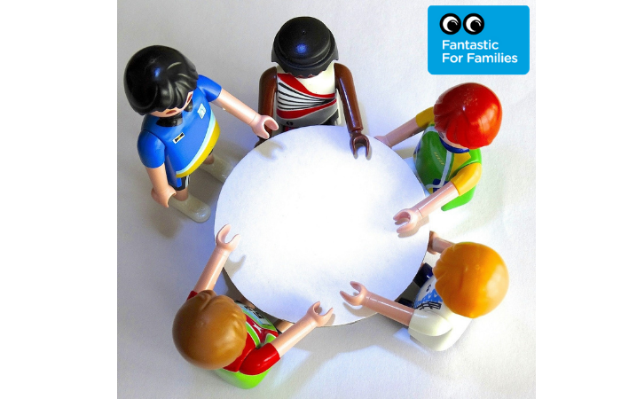 "Image of DUPLO figures round a table, with the logo ""Fabulous for Families"" in the corner"