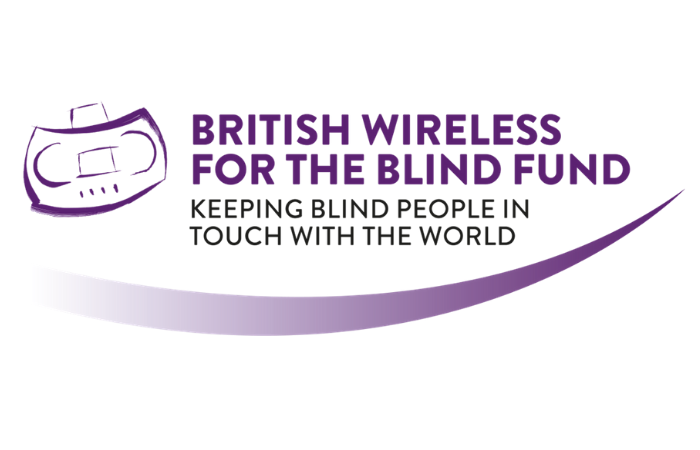 Logo has sketch of a cassette player on left, with the words British wireless the blind fund, keeping blind people in touch with the world, with a swoosh under the whole logo